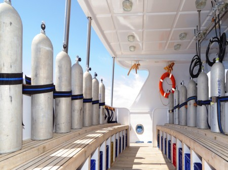 M/Y blue Melody dive deck and cylinders in the Red Sea, Egypt