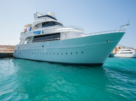 M/Y Red Sea Adventurer liveaboard diving vessel docked in Egypt harbour