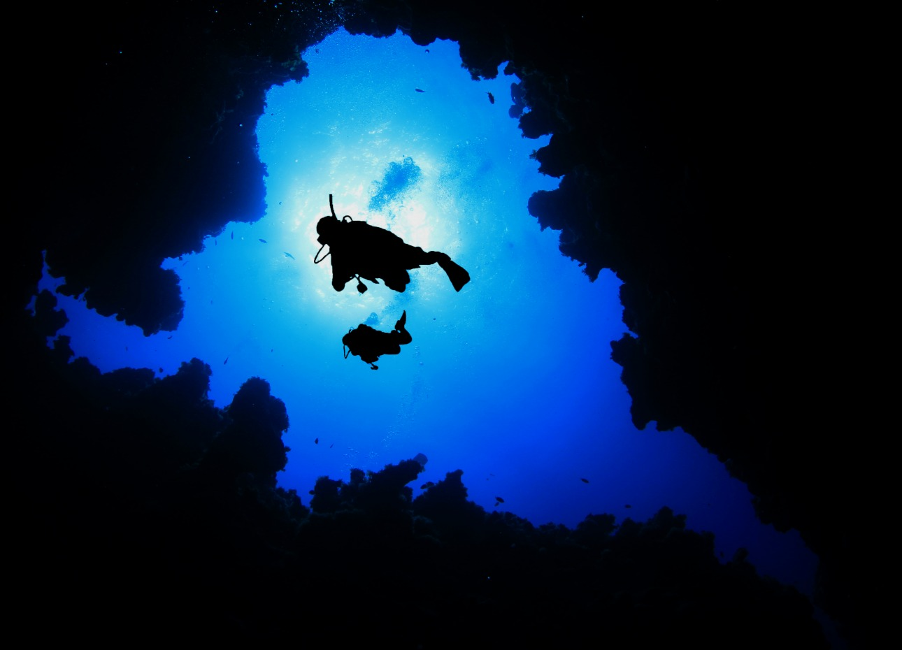 Scuba diver descends into a cave in the Bahamas