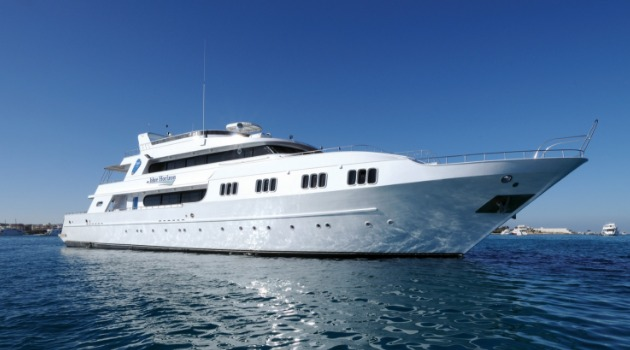 M/Y Blue Horizon liveaboard diving vessel anchored at dive site in the Red Sea, Egypt
