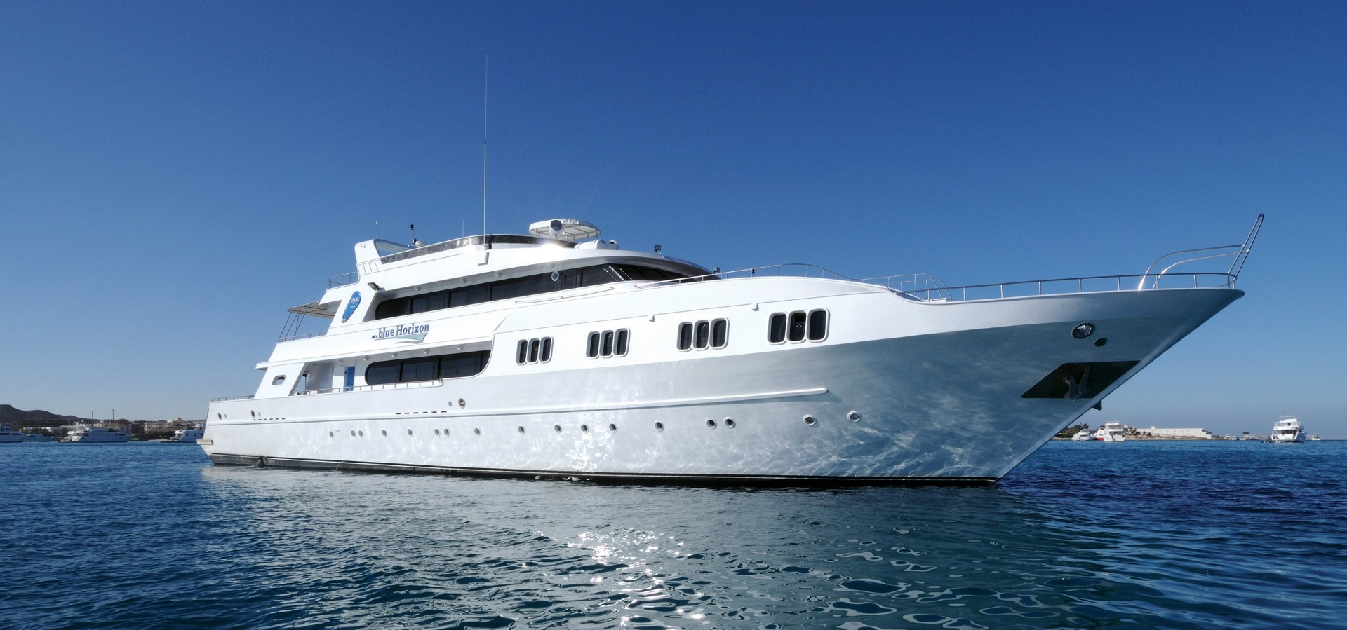 M/Y blue Horizon liveaboard diving vessel anchored in the Red Sea