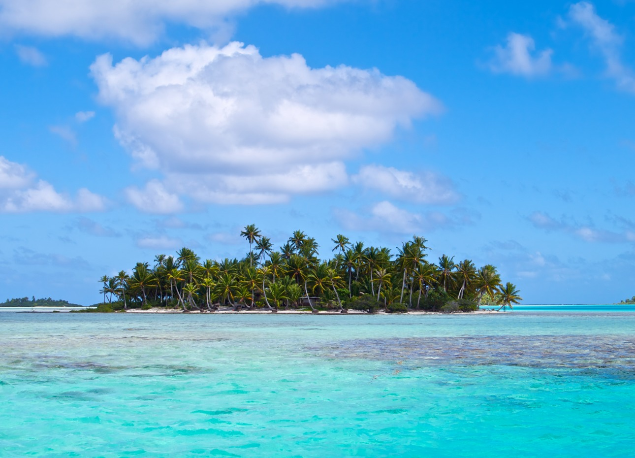 French Polynesia clear water and island image