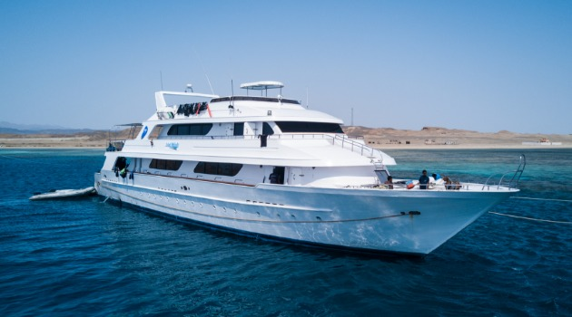 M/Y Blue Melody liveaboard diving vessel anchored at dive site in the Red Sea, Egypt