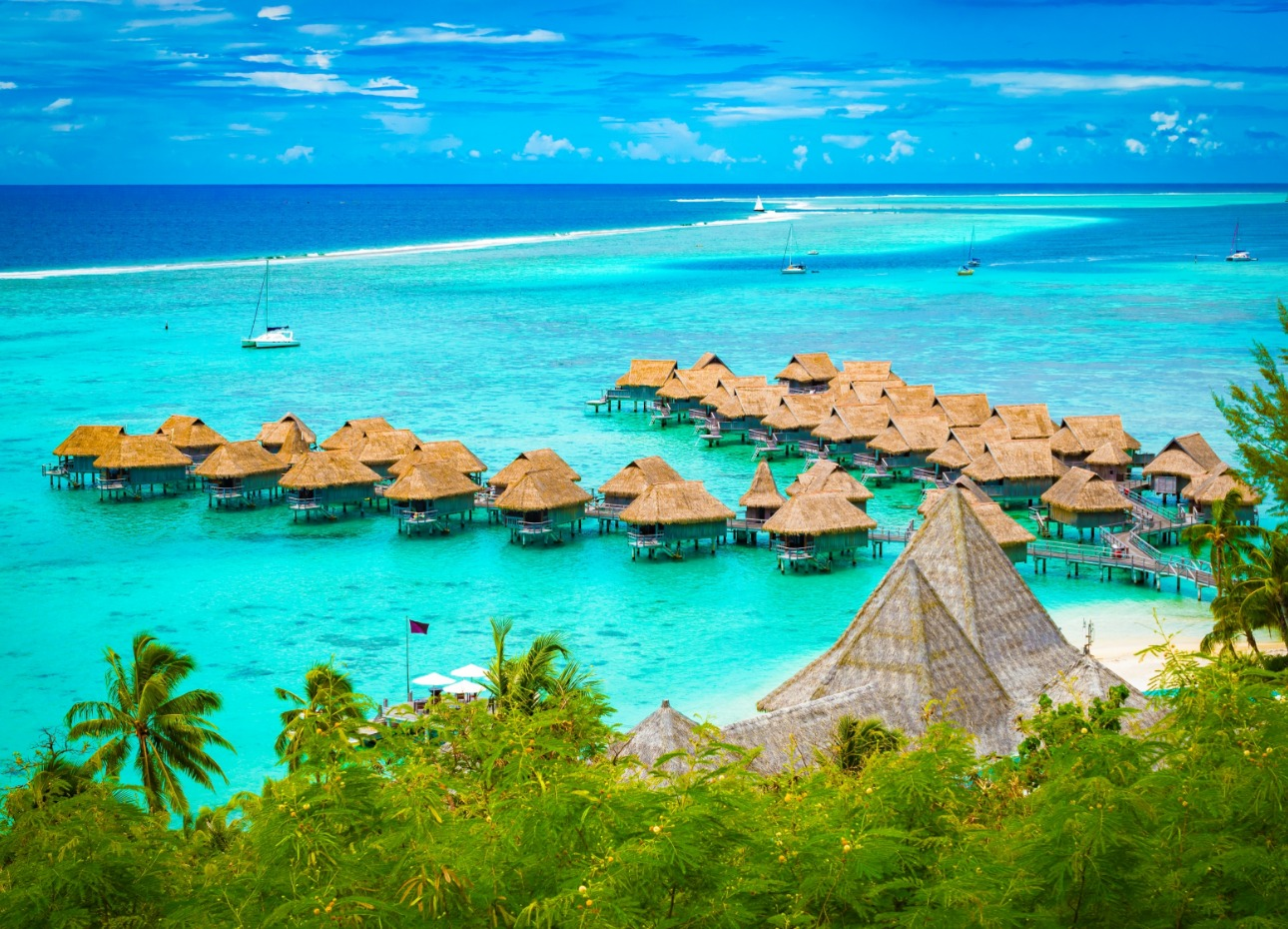 French Polynesia island image of hotel resort overwater bungalows
