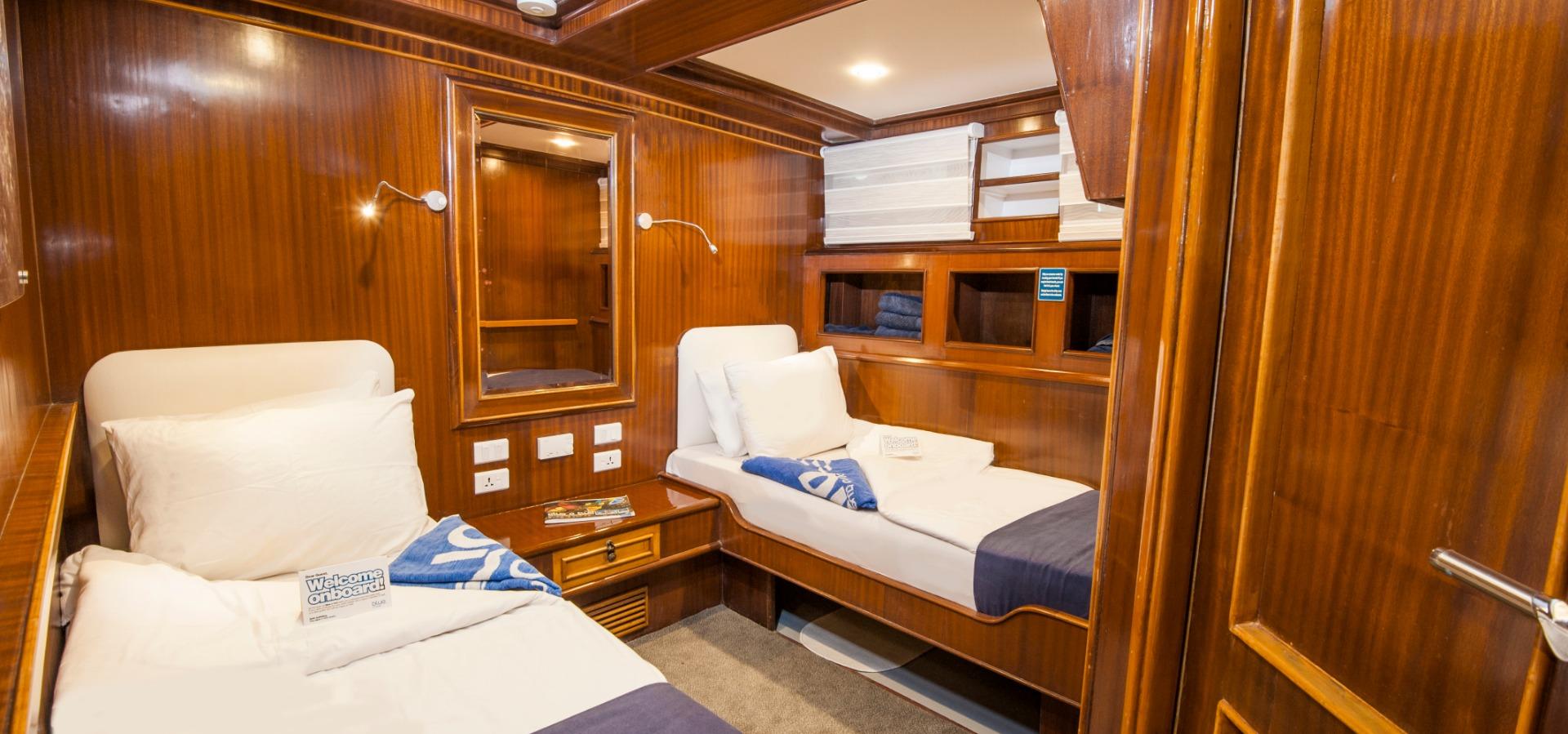 Twin cabin aboard M/Y blue Melody liveaboard diving vessel, Red Sea