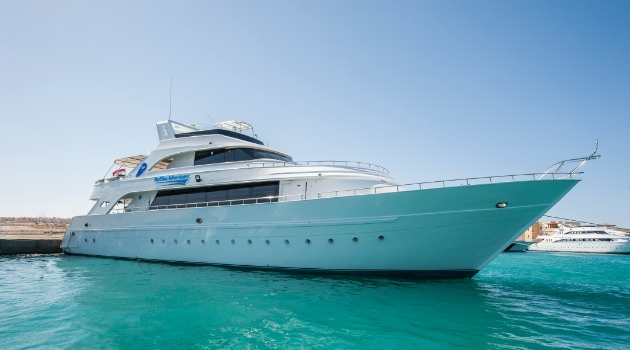 M/Y Blue Sea Adventurer liveaboard diving vessel docked in the Red Sea, Egypt