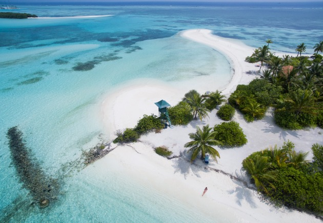 Stunning white sand beaches in the Maldives