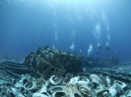 Scuba divers at Yolanda Reef in the Red Sea, Egypt