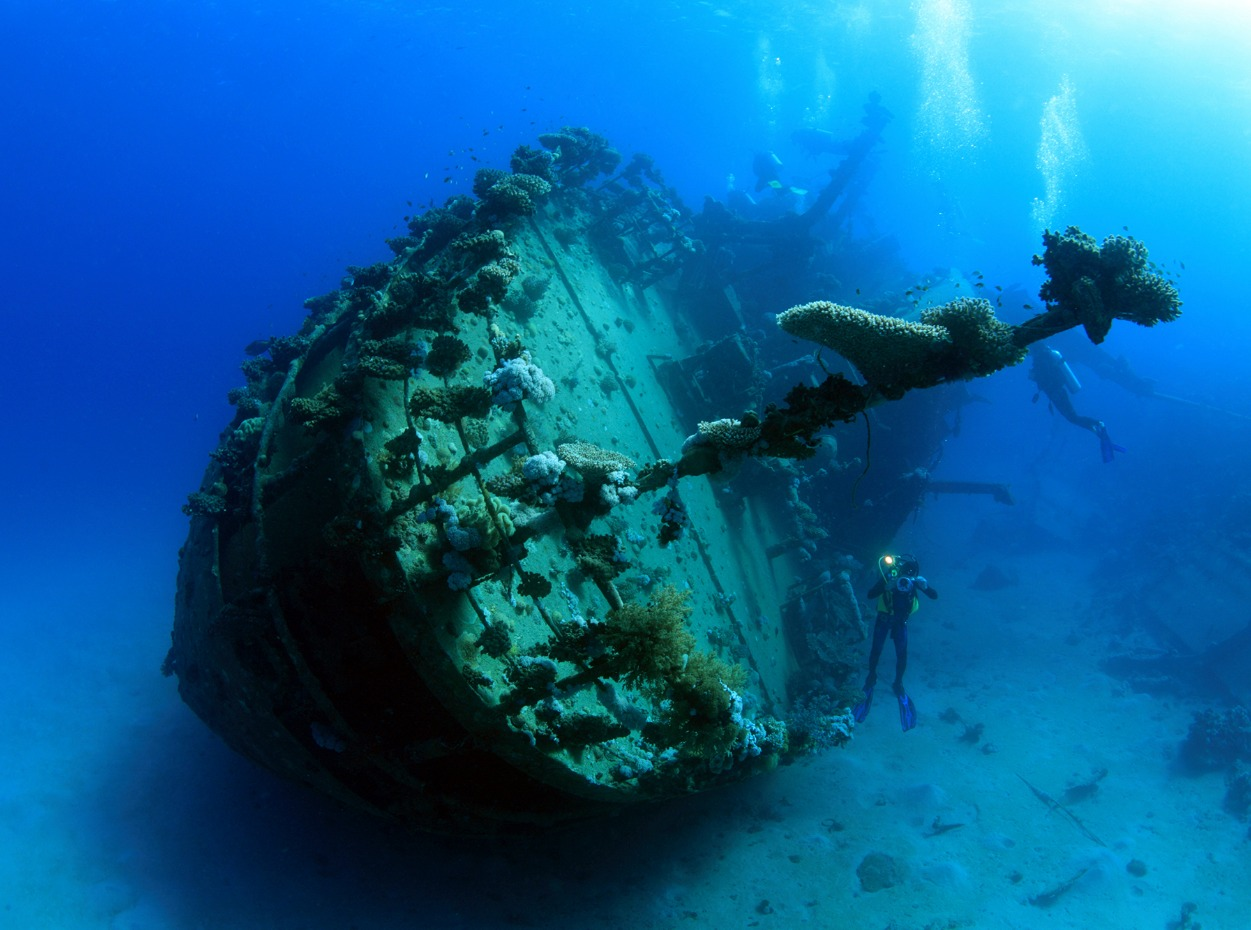 Scuba diver hovers near Red Sea wreck