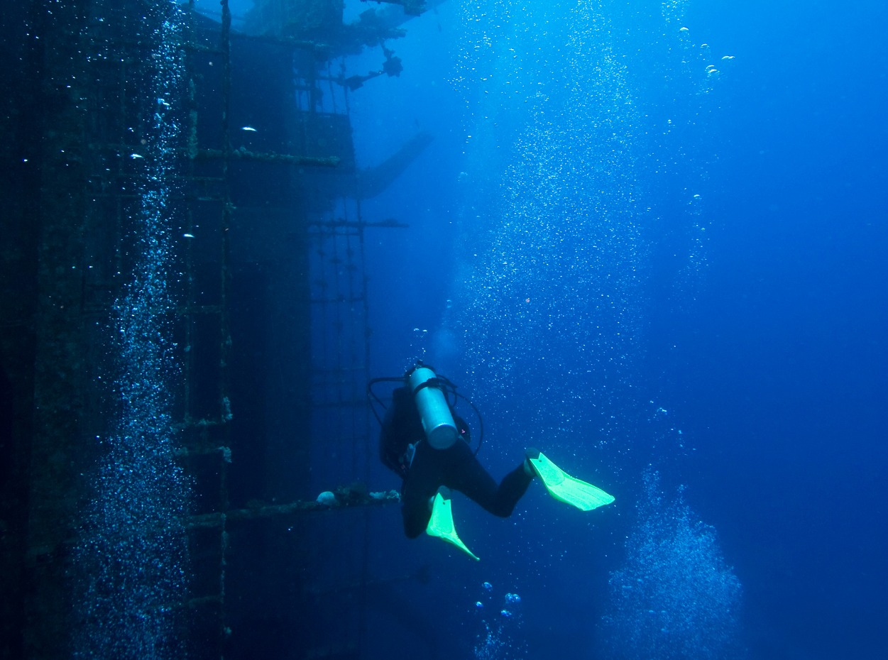 Scuba diver at Red Sea Wreck