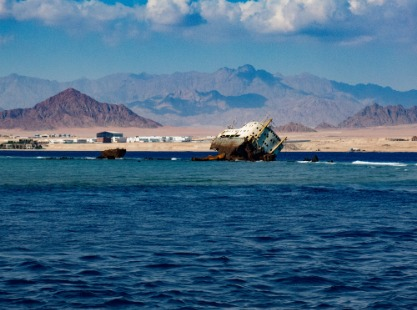 The wreck of the Louilla on Tiran Strait, Red Sea
