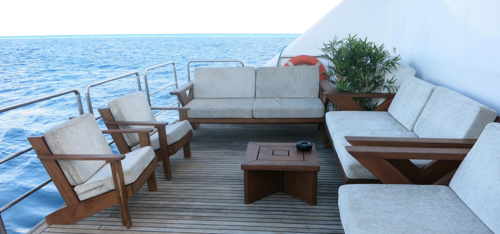 stern deck, blue Voyager, Maldives