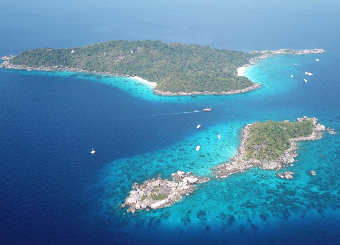 Aerial view of Thai islands