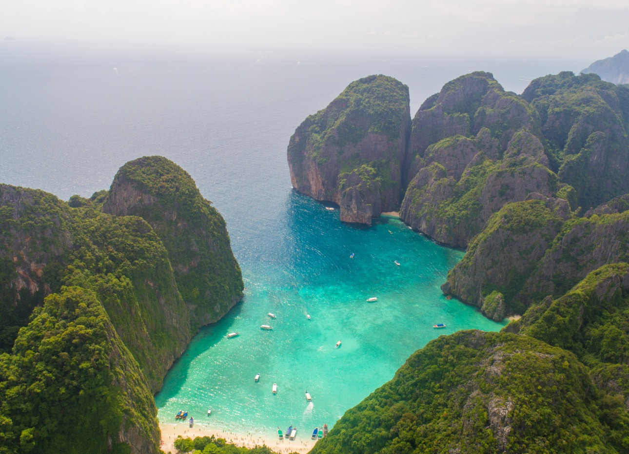 Aerial view of turquoise waters, Thailand