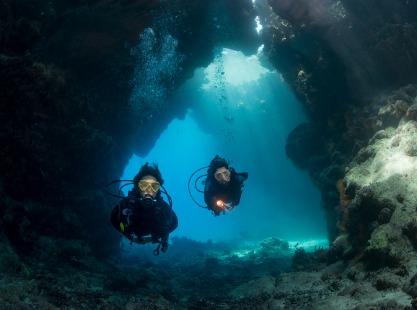 Diver exploring St Johns, Red Sea